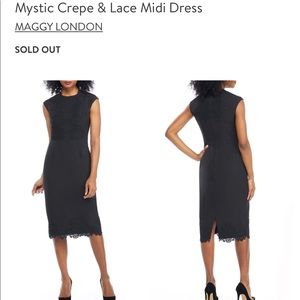 SOLD OUT NWT Maggy London Black Crepe & Lace Dress